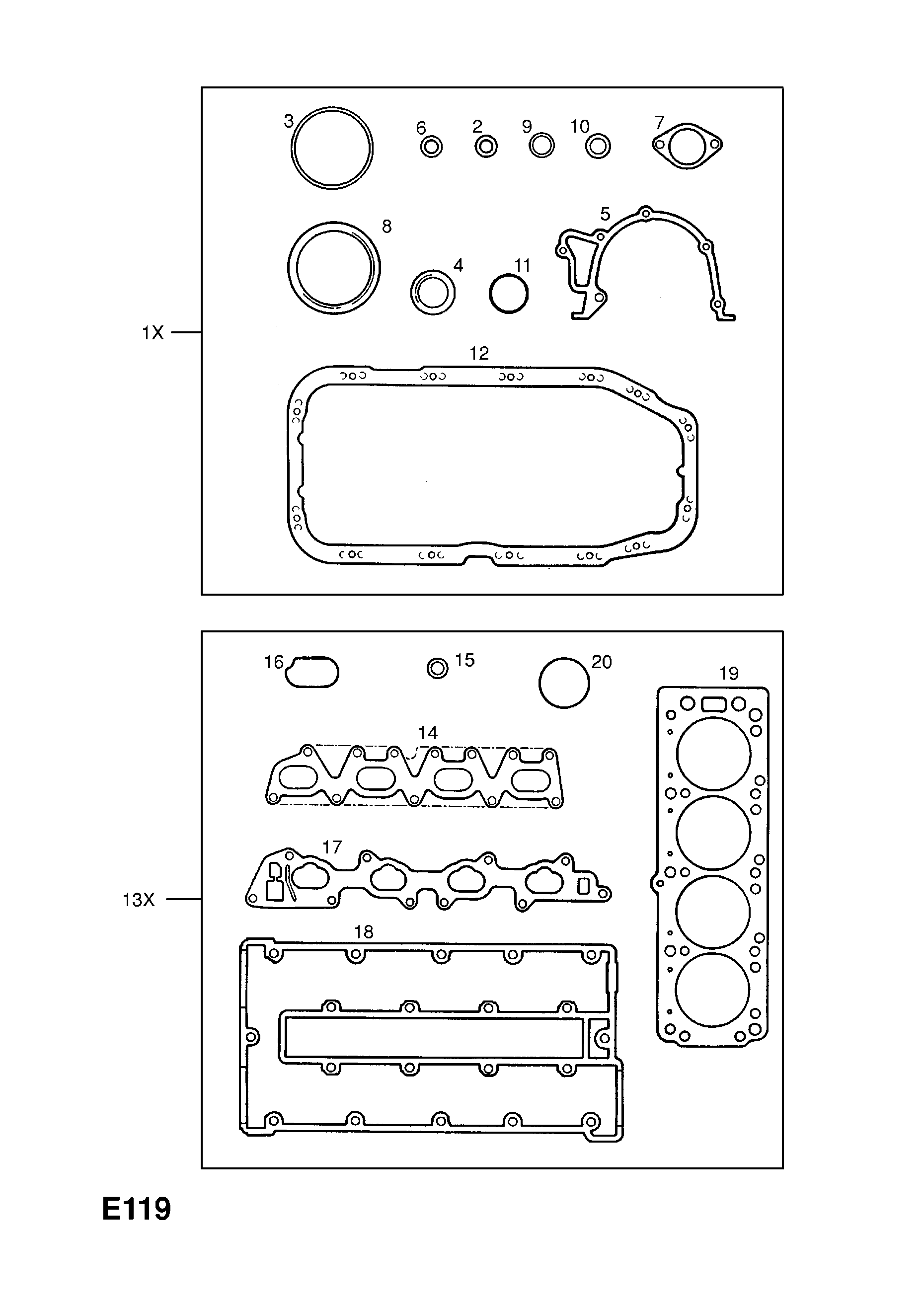 Engine Gasket Sets Opel Vectra A