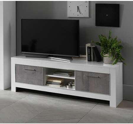 meuble tv modena laquee blanc beton