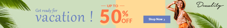 Up to 50% OFF, Get Ready for Vacation on DressLily! promotion