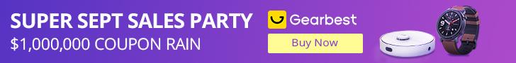Gearbest Super Sept Sales Party $1,000,000 Coupon Rain promotion