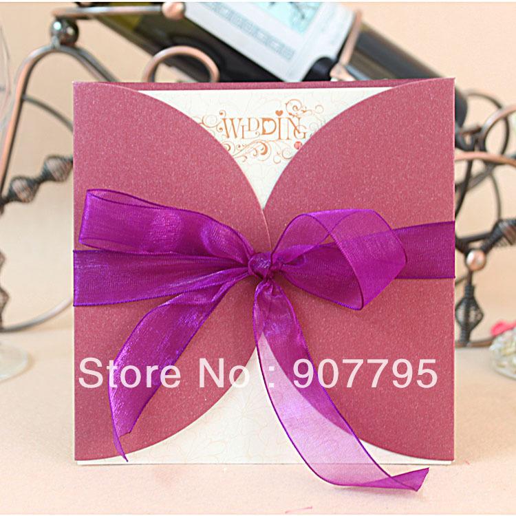 Elegant Purple Swirls Black Pocket Wedding Invitations Iwps057