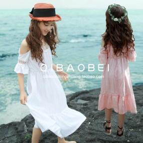 韩国童装夏季新款女童连衣裙中大童吊带裙儿童海边沙滩度假风长裙
