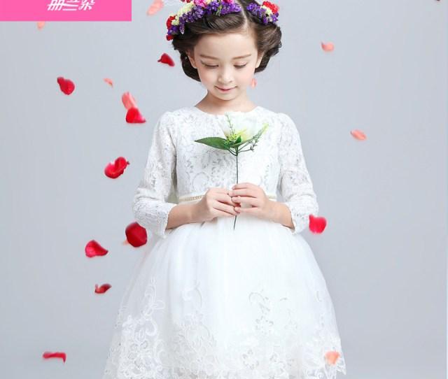 93535fc7cd7 Buy Childrens Dresses Flower Girl Dresses Princess Wedding Dress Girls Fall  And Winter Long Sleeve Lace