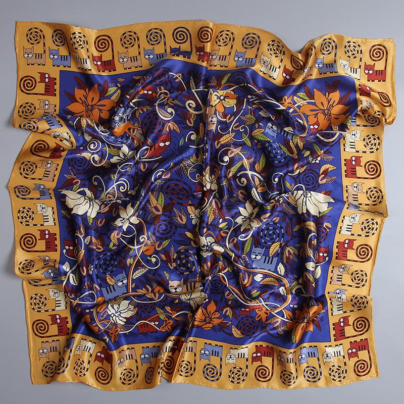 Cat Pattern Large Square Silk Scarf