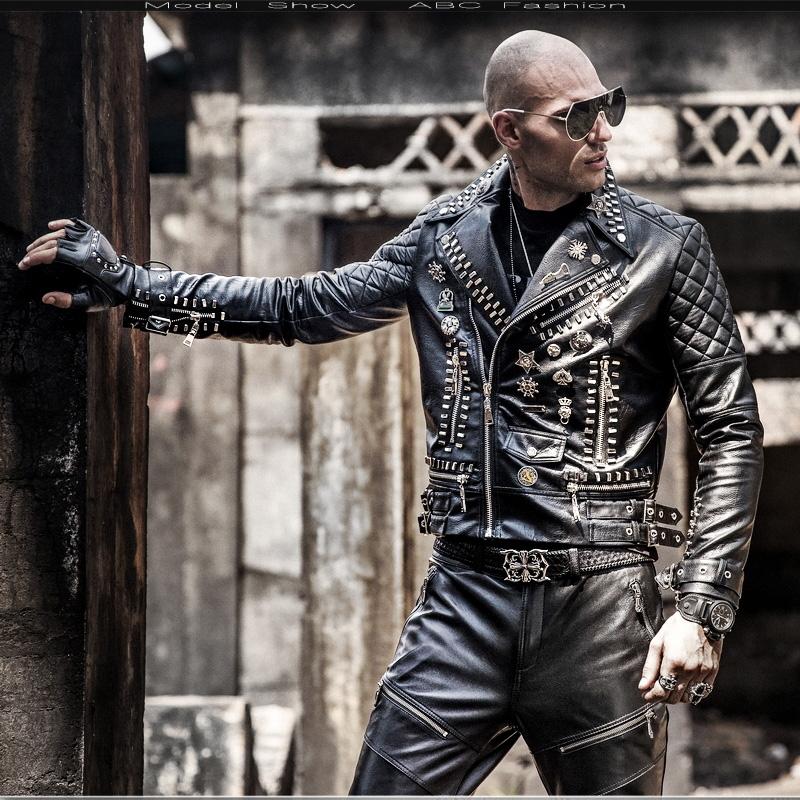 O1CN012j818O1azF63jUAUl !!21903400 Motorcycle leather men's tide hip hop rivet punk lapel leather jacket trend Korean version of the diagonal zipper handsome
