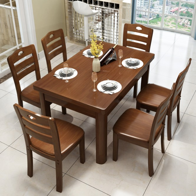 Usd 76 43 Full Wood Dining Table And Chair Combination Of