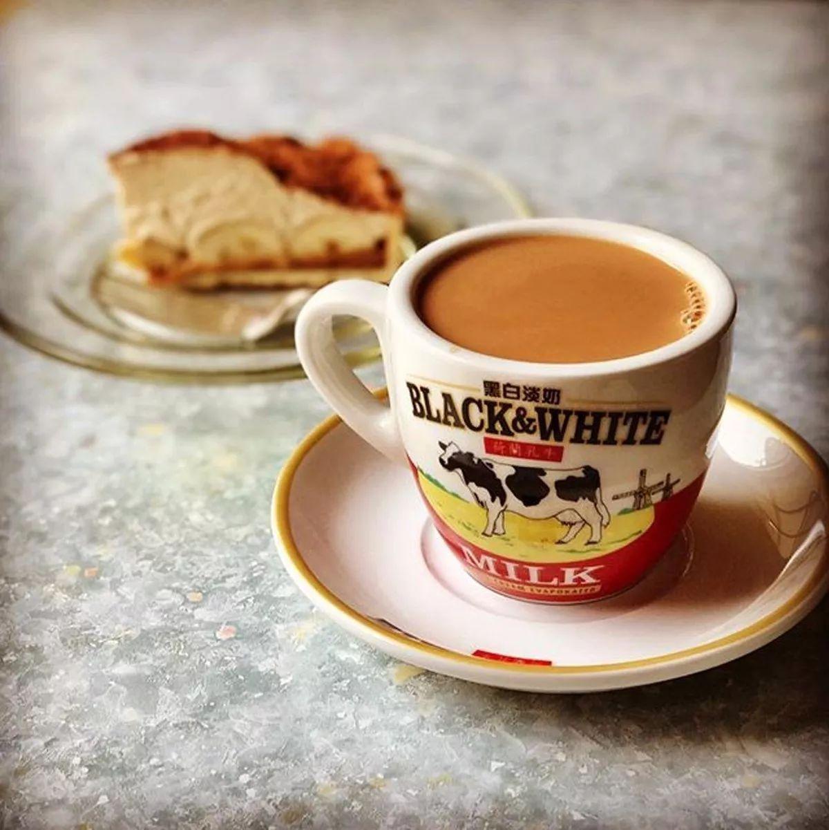 菲仕蘭香港版黑白淡奶杯碟 港式茶餐廳奶茶杯咖啡杯套220ml陶瓷杯
