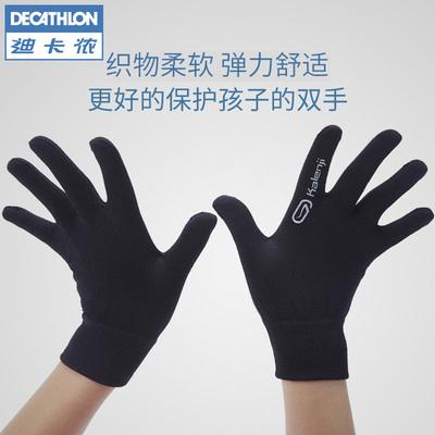 迪卡儂 兒童手套男女童女士保暖針織五指手套黑色彈力RUNA