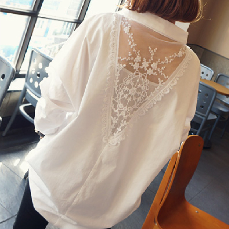2020 new women tops autumn long sleeve blouses V collar white shirt female lace shirts women clothing solid casual blouse D95 30