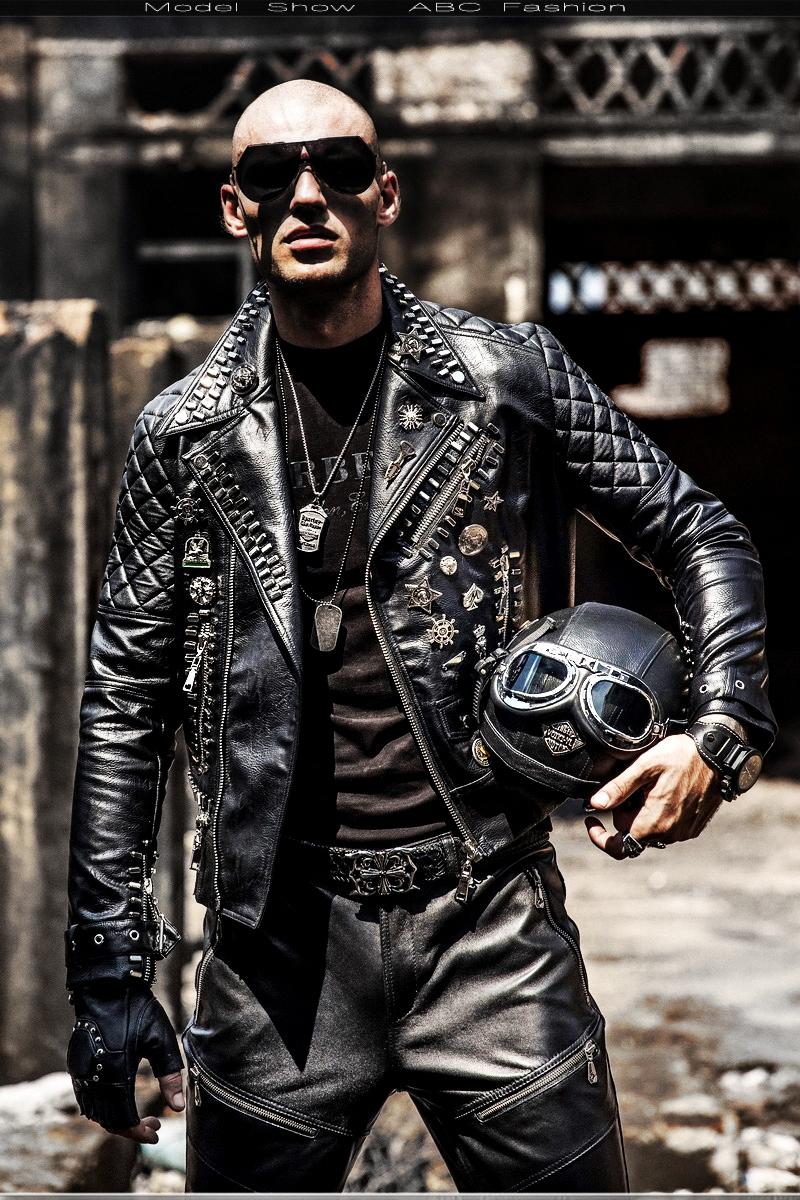 O1CN01tsNZ9S1azF68yl1Fh !!21903400 Motorcycle leather men's tide hip hop rivet punk lapel leather jacket trend Korean version of the diagonal zipper handsome