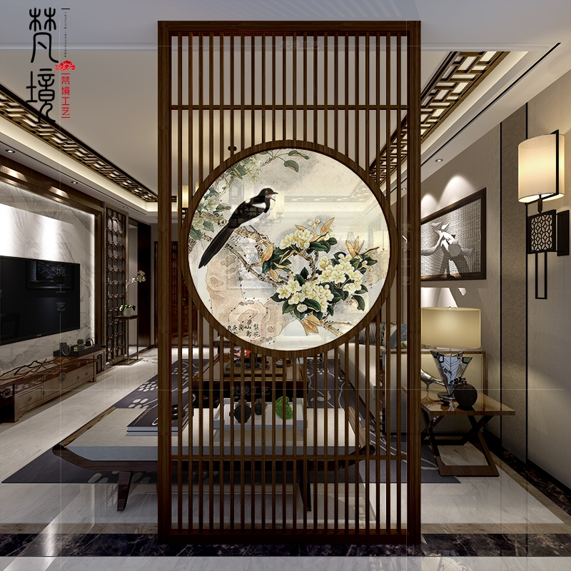 Screen Partition Living Room Solid Wood New Chinese Xuanguan   Partition Of Stairs In Living Room   Lobby   Storage   Open Plan   Divider   Wood Paneling