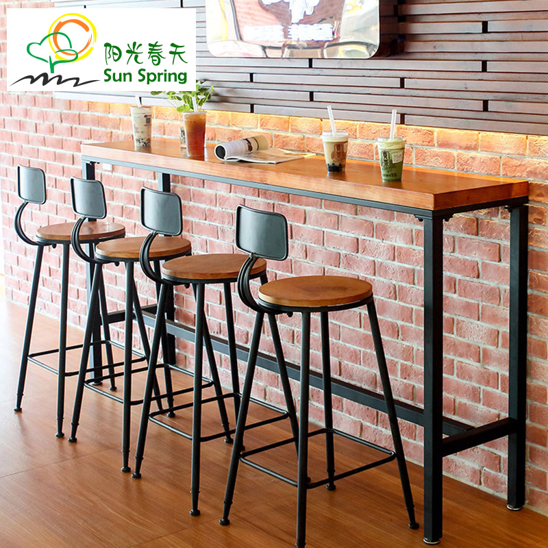 Wrought Iron Casual Cafe Bar Table Home Long Strip Of Wood