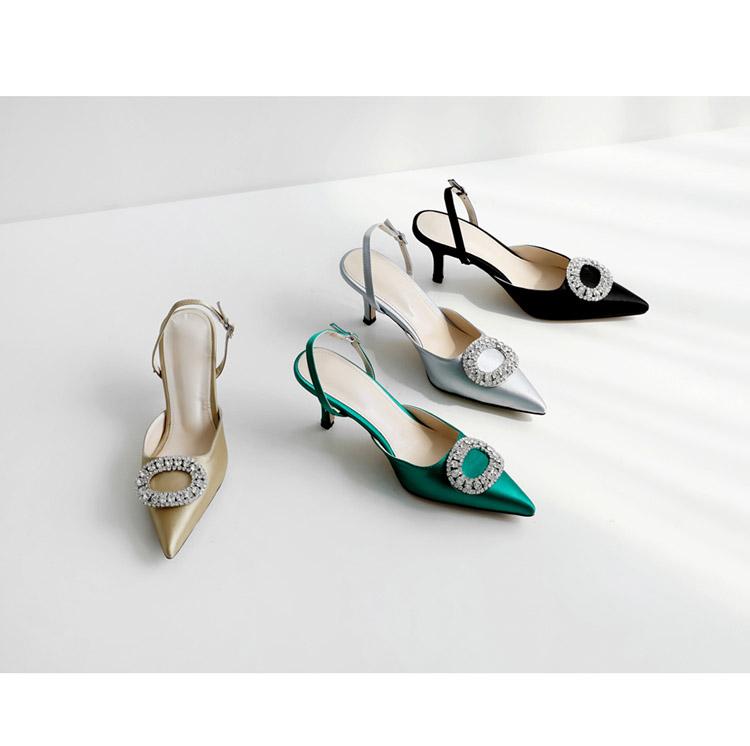 TB2aJhFw tYBeNjy1XdXXXXyVXa !!862068005 Summer new stiletto pointed high heel rhinestone buckle sandals Satin Korean version of the wild Baotou female cool shoes
