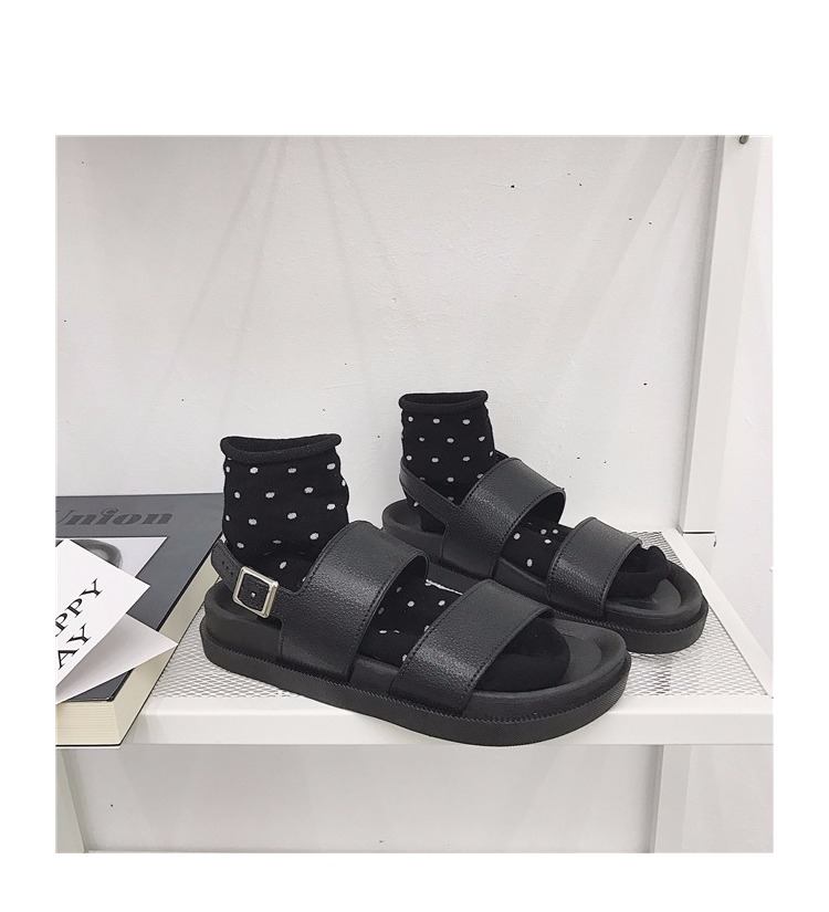 TB2lO7NtGmWBuNjy1XaXXXCbXXa !!1102525876 Mazefeng 2018 New Fshion Summer Women Shoes Rome Style Women Casual Sandals Solid Black Buckle Ladies Sandals Vintage Flats