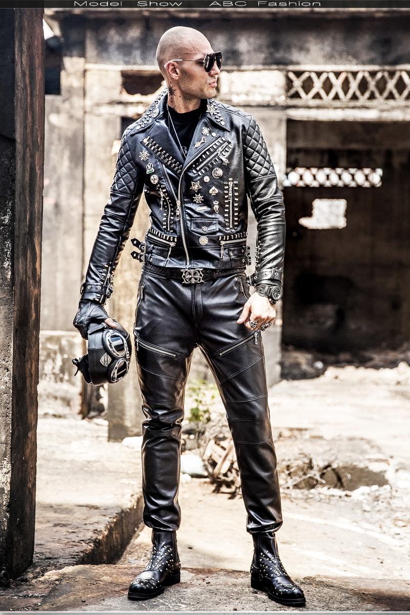 O1CN01YB8zCc1azF65czc5I !!21903400 Motorcycle leather men's tide hip hop rivet punk lapel leather jacket trend Korean version of the diagonal zipper handsome