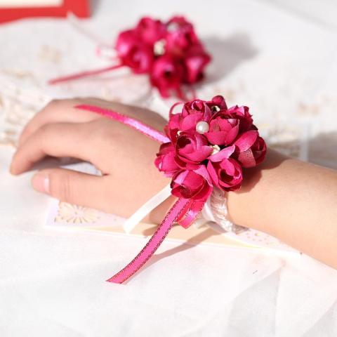 USD 4 58  Wedding celebration supplies bride wrist flowers Korean     Wedding celebration supplies bride wrist flowers Korean wedding simulation  corsage fabric Bridesmaid sisters hand flowers