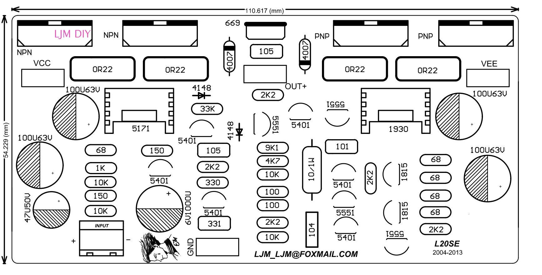 Ljm L20se 350w 350w 4ohm 2sa 2sc Kit Amplifier
