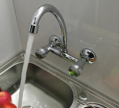 廚房冷熱入牆水龍頭 盤子陽臺拖把池牆式壁式雙把手分開關水龍頭