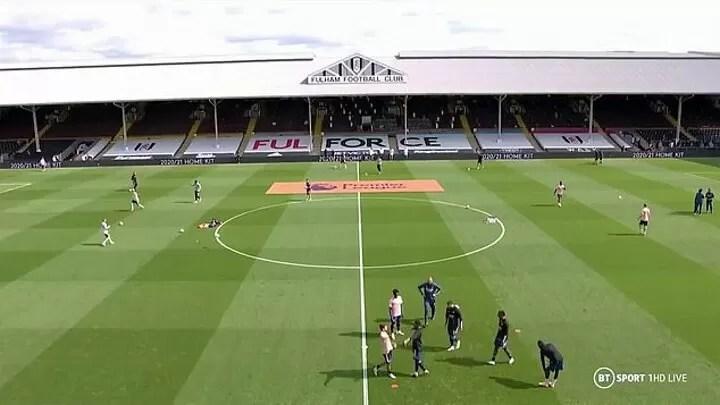 Arsenal pair Eddie Nketiah and Dani Ceballos come to blows during warm-up before Fulham 3