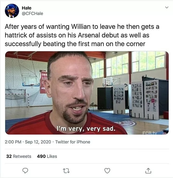 Arsenal fans heap praise on Willian as Brazilian notches THREE assists in 57 minutes on his debut 5