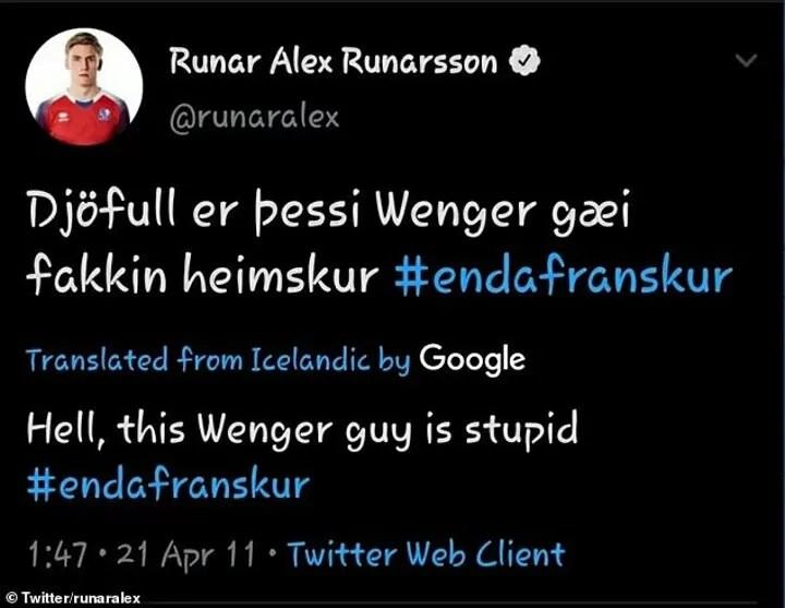 Arsenal target Alex Runarsson called Arsene Wenger a 'French f***' on social media 4