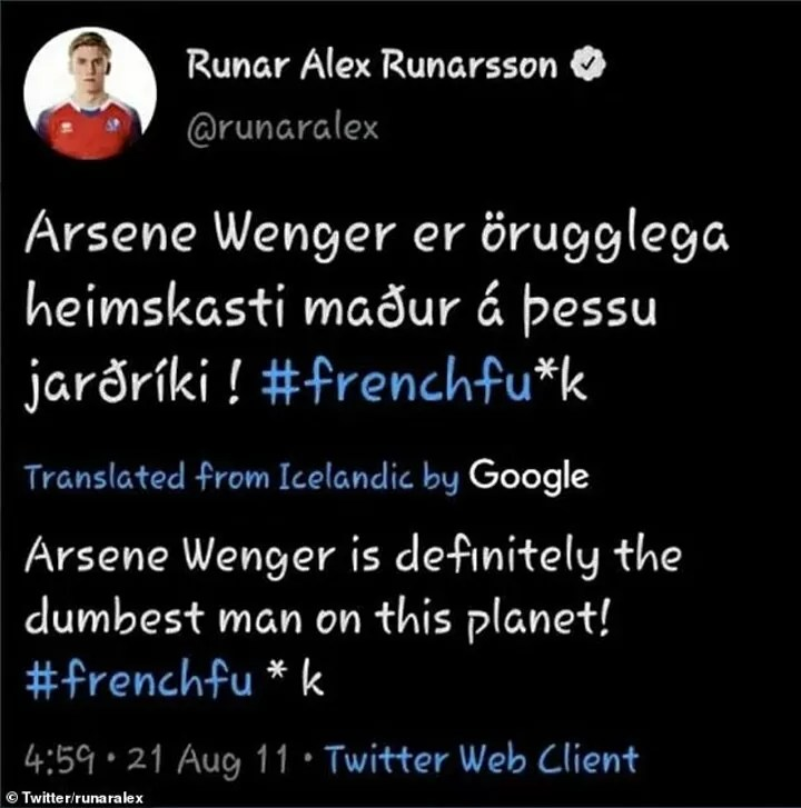 Arsenal target Alex Runarsson called Arsene Wenger a 'French f***' on social media 5