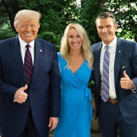 Jennifer with her husband and Donald Trump