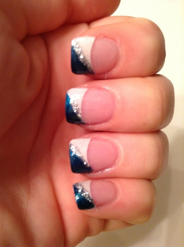 French Tip Nails With Blue And Glitter Design