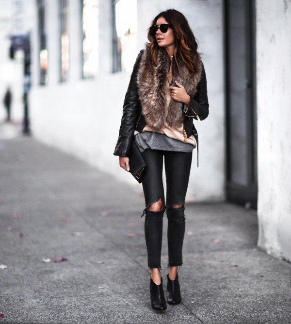 clothing, black, footwear, leather, fur,