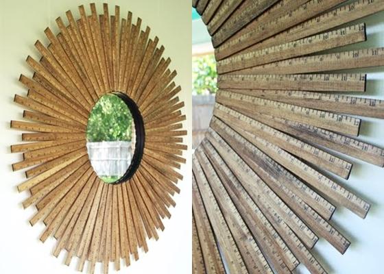 Sunburst Mirror 14 DIY Yardstick Upcycling Projects That