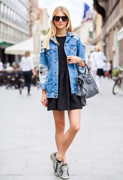 Denim Fashion Distressed Blue Jean Jacket with Black Dress and Tennis Shoes