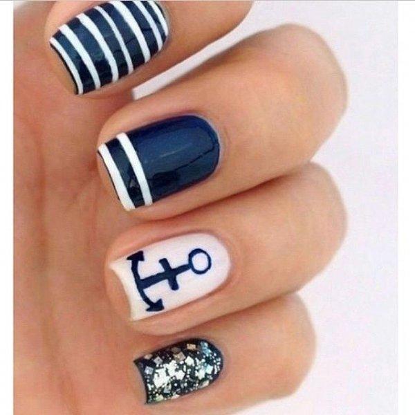 Finger Nail Care Blue Polish