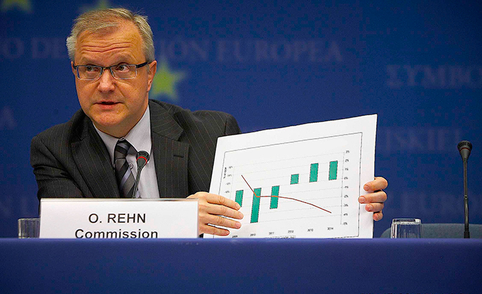 Eurogroupe, Press conf, Tricet, Junker, Rehn, PAPACONSTANTINOU