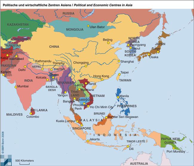 Χάρτης - πολιτικά και οικονομικά κέντρα στην Ασία