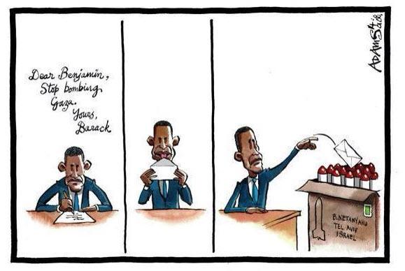 Σκίτσο με τον Μπαράκ Ομπάμα να στέλνει δήθεν ειρηνευτικό μήνυμα στο Ισραήλ