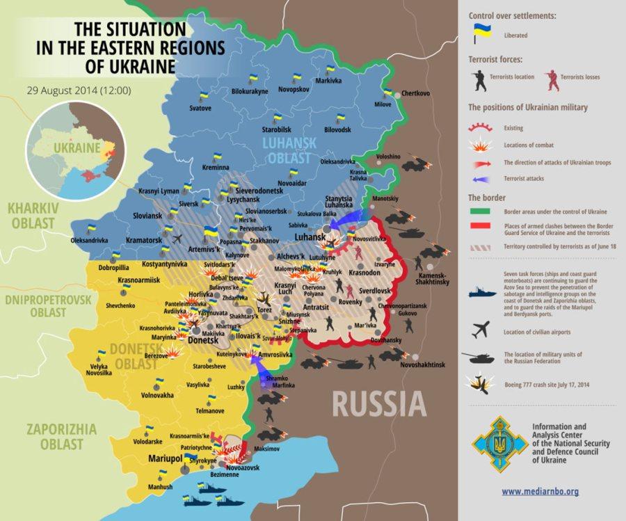 Χάρτης – μια άποψη σχετικά με τις στρατιωτικές φάσεις στα ανατολικά της Ουκρανίας.