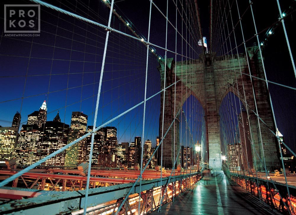 Brooklyn Bridge Tower And Cables At Night Fine Art Photo