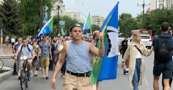 ВДВ за Фургала: десантники Хабаровска также вышли на акцию ...