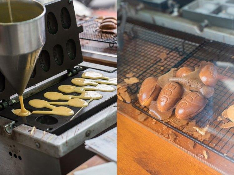 審計新村魚刺人雞蛋糕   台中超夯偉士牌雞蛋糕,巧遇魚刺人,深色雞蛋糕香氣濃郁。