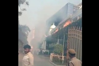 Fire broaken in Telangana Bhavan during winning celebrations of TRS MLC candidate Vani Devi