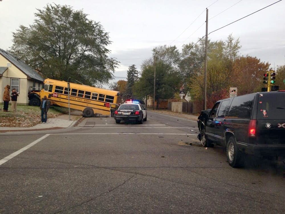 School Bus SUV Collide In N Minneapolis Minnesota