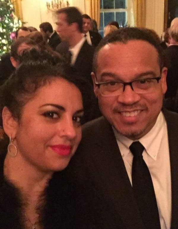 Karen Monahan and Keith Ellison at a White House Christmas party.