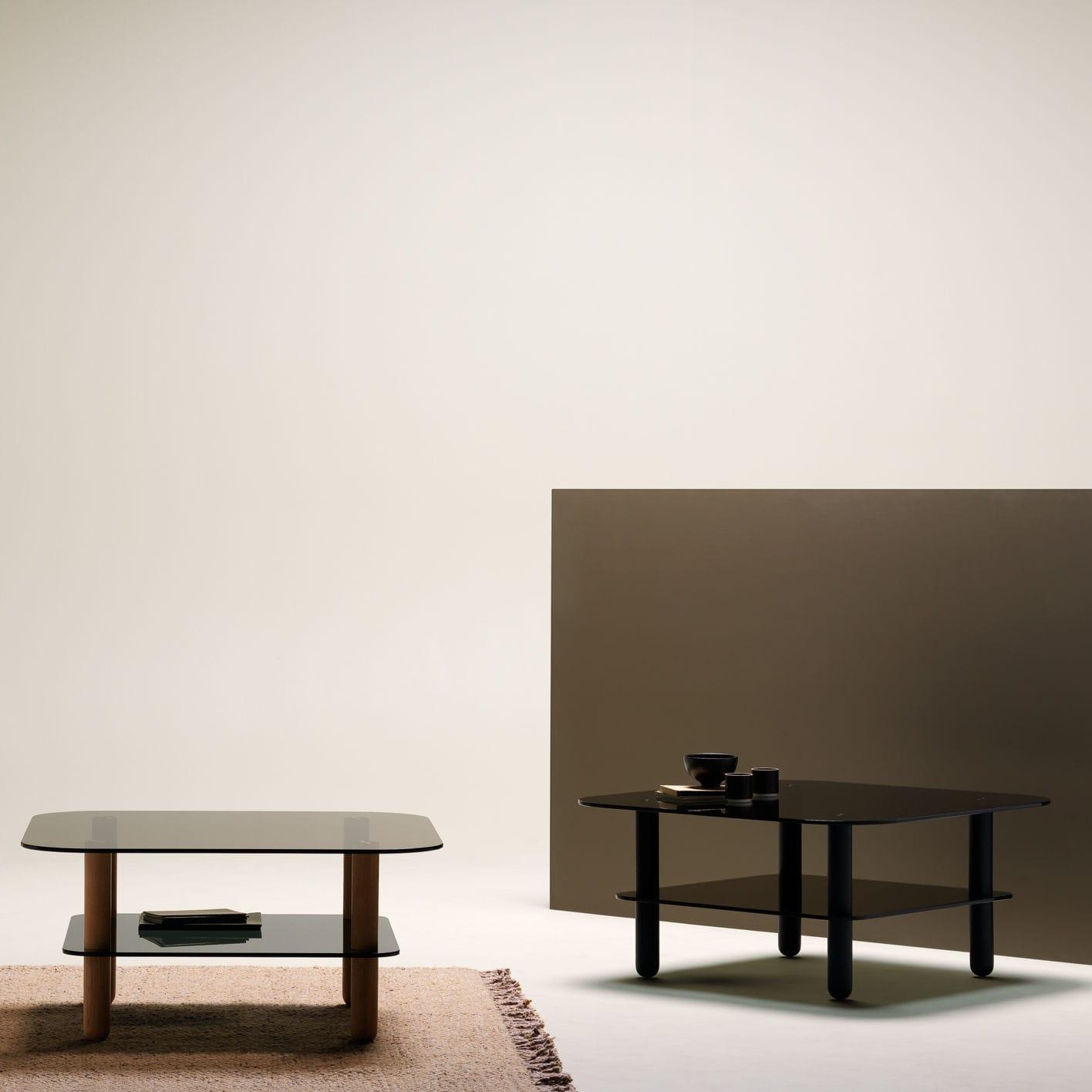 contemporary coffee table big sur fogia tempered glass oak base square