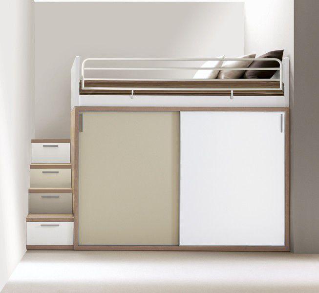 Leader tra i produttori di camerette per bambini e ragazzi: Loft Bed Composizione 309 Doimo City Line Single Contemporary With Writing Desk