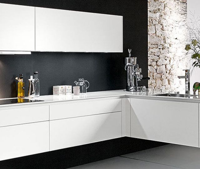 Contemporary Kitchen Wooden Lacquered Handleless Swing Lifestyle Warendorfer