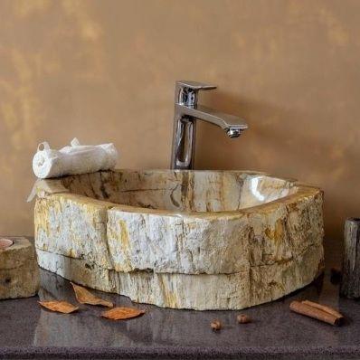 single sink petrified wood india