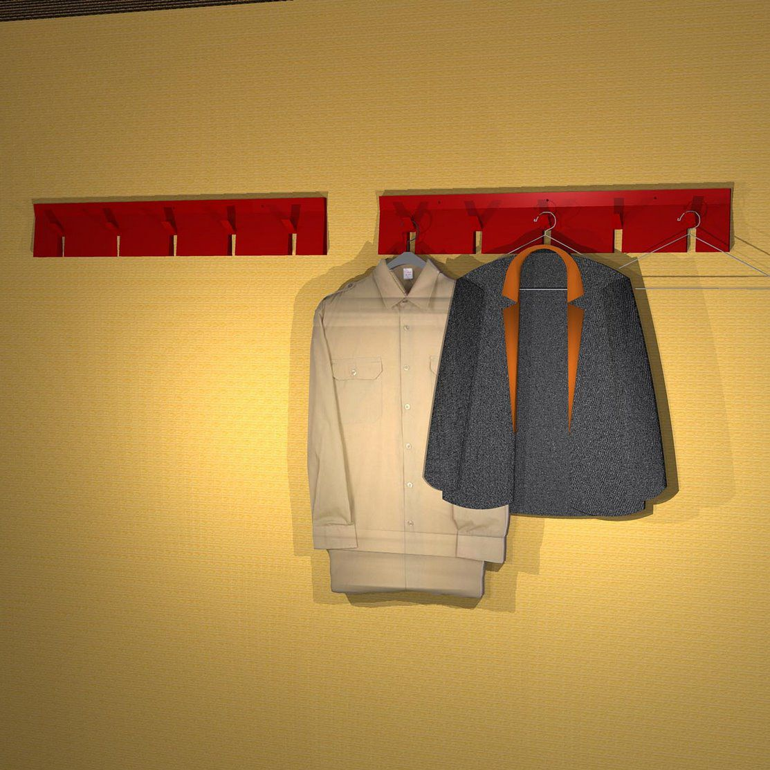 wall mounted coat rack contemporary powder coated steel 2d 3d