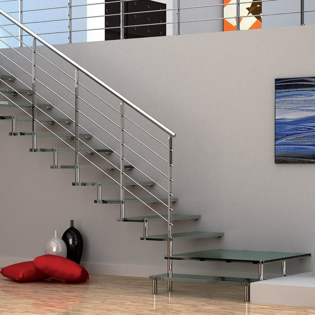 Quarter Turn Staircase Akura Mobirolo Metal Frame Glass | Glass And Chrome Staircase | Contemporary | White Post | Single Spine | Lights | Stainless Steel