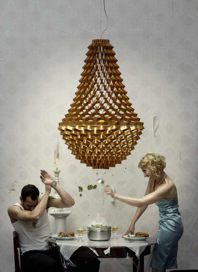 Original Design Chandelier Fabric Plastic Incandescent Crown By Grietje Schepers Jspr