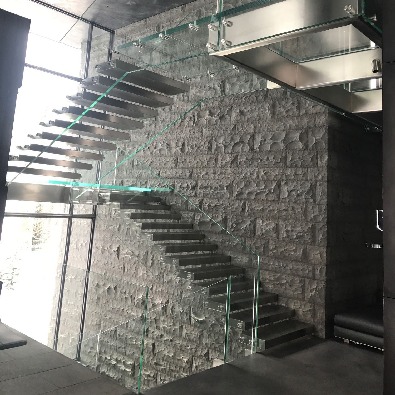 Half Turn Staircase Montana Siller Stairs Glass Frame   Steel Steps For Stairs   Iron Plate   Steel Structure   2 Step   Metal Floor Plate   Double Stringer